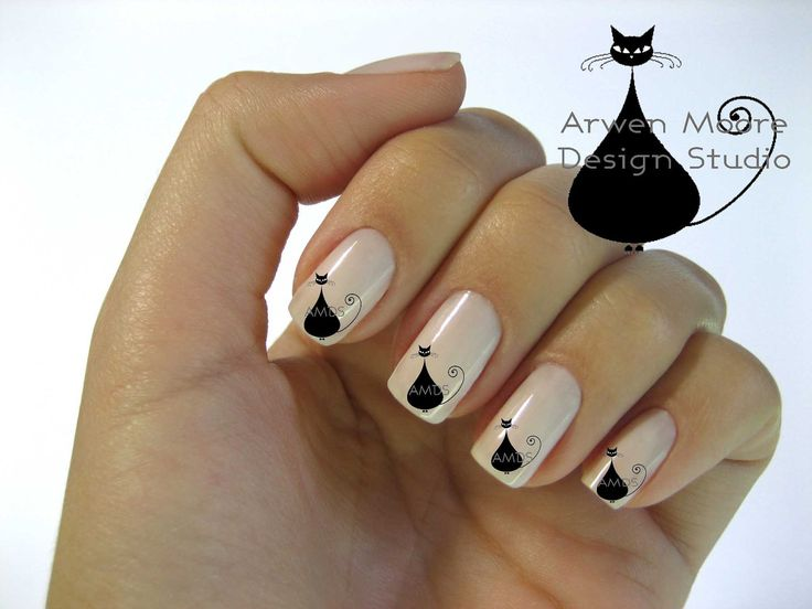Fun! Very Chic Mod Black Cat Nail Art Waterslide Water Decals Miniature via Etsy.