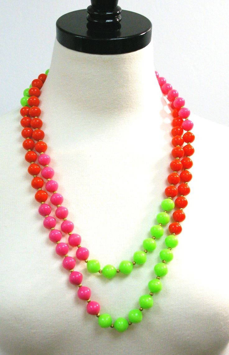 Vintage Neon Necklace, 80s Long Bead Necklace, Neon Pink Red Green Opera Length Summer Necklace, Single Strand Wrap Necklace by FlourishesVintage on Etsy https://www.etsy.com/listing/510431306/vintage-neon-necklace-80s-long-bead