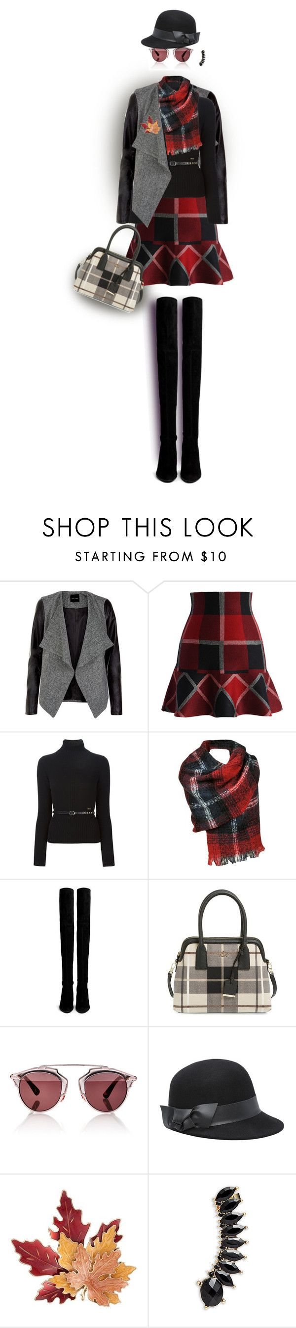 """Style It in Plaid! (OUTFIT ONLY)"" by celeste-menezes ❤ liked on Polyvore featuring Chicwish, Dsquared2, Black Rivet, Stuart Weitzman, Kate Spade, Christian Dior, Bebe, Croft & Barrow and Jules Smith"