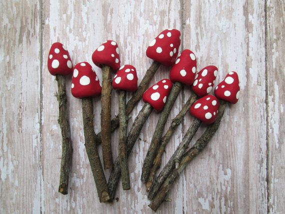 Set of 3 Miniature Fairy Garden Mushrooms . Fairy by OrangeHound