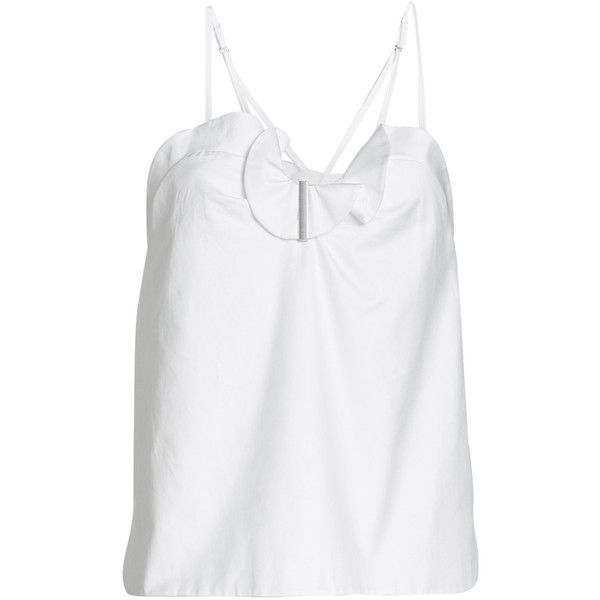 Carven Cotton Top ($185) ❤ liked on Polyvore featuring tops, white, white cami, camisole tops, white summer tops, ruffle top and white cami top