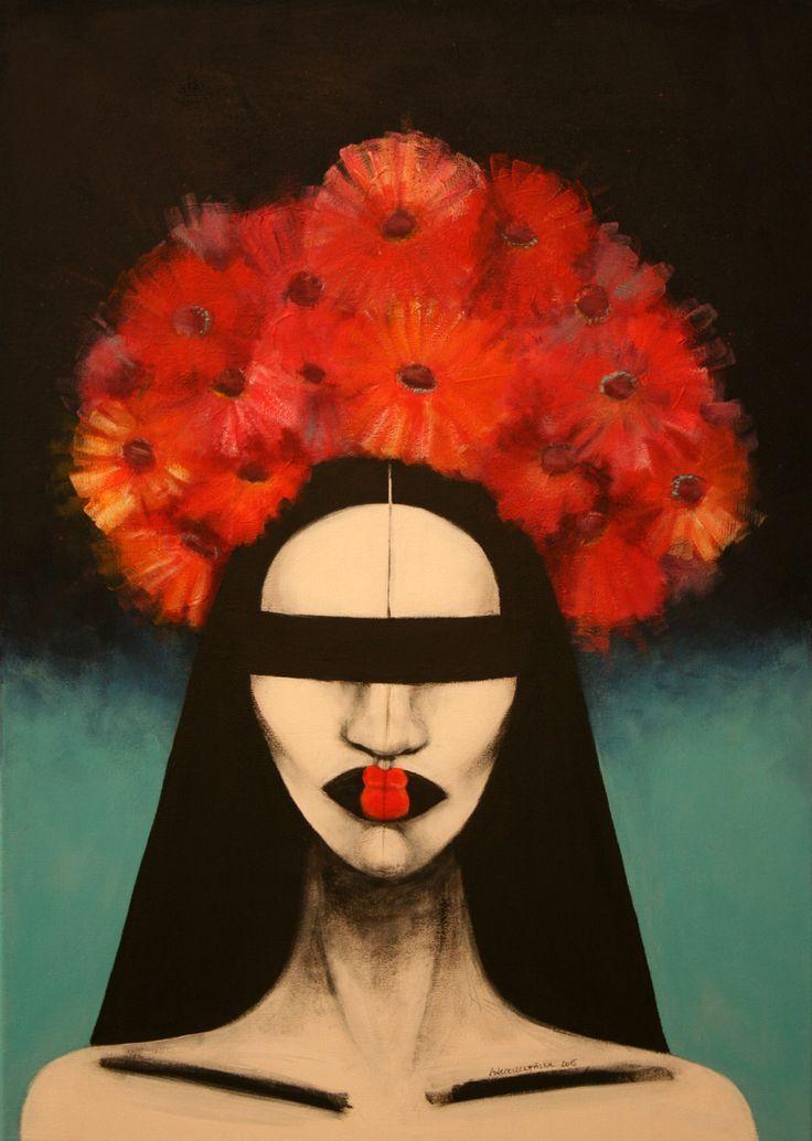 Flowers, 50x70cm, acrylic on canvas, 2015, portrait, painting, lips, flowers, hair, art, face
