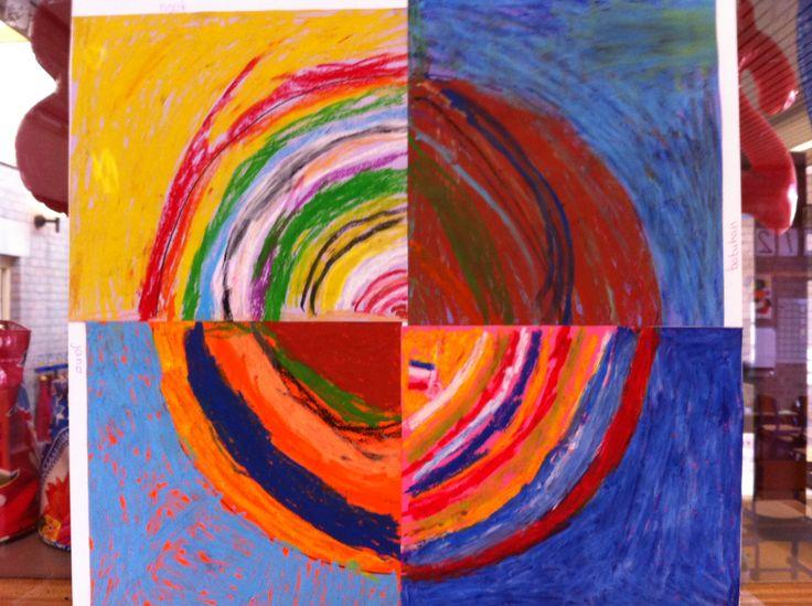 Kleuren in groep 3-4: allemaal een papier met een kwart cirkel, vetkrijt en een regenboog op het digibord. Inspiratie genoeg.