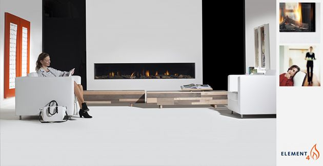 """A frameless, linear built-in gas fireplace, the Modore 240 by Element4 is a dramatic 95 inches wide (7'9"""") with double burner technology."""