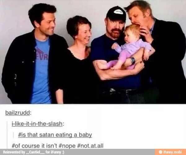 """Is that Satan eating a baby?"" ||| Misha Collins, Jim ..."