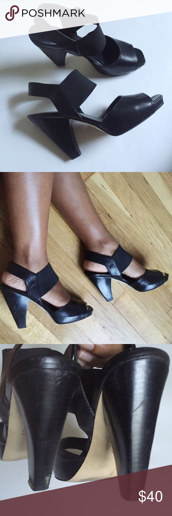 Franco Sarto heels Black  3 inch heels have been previously loved sketches on the heels as shown in photos these are the most comfy stylish heels I have ever own they still need love !!!❤️ Franco Sarto Shoes Heels