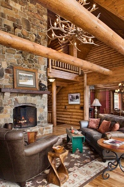 Fireplace And Log Truss