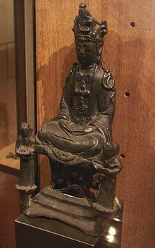 The Virgin Mary disguised as Kannon/Guanyin to avoid persecution. Kirishitan (Christian) cult, 17th century Japan.