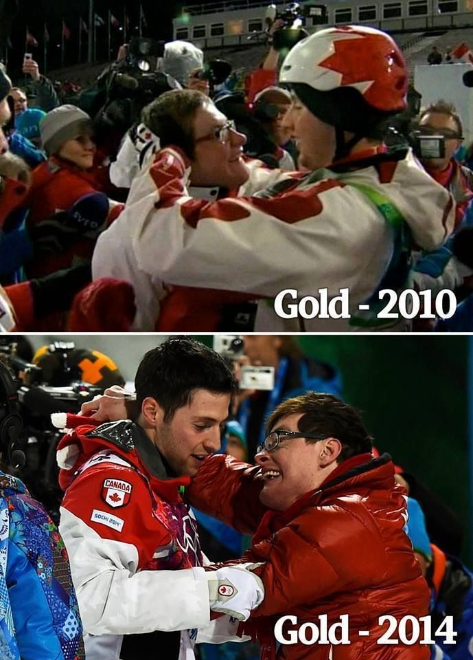 Alexandre and Frédéric Bilodeau at the 2010 Vancouver Winter Olympics and 2014 Sochi Winter Olympics, respectively.