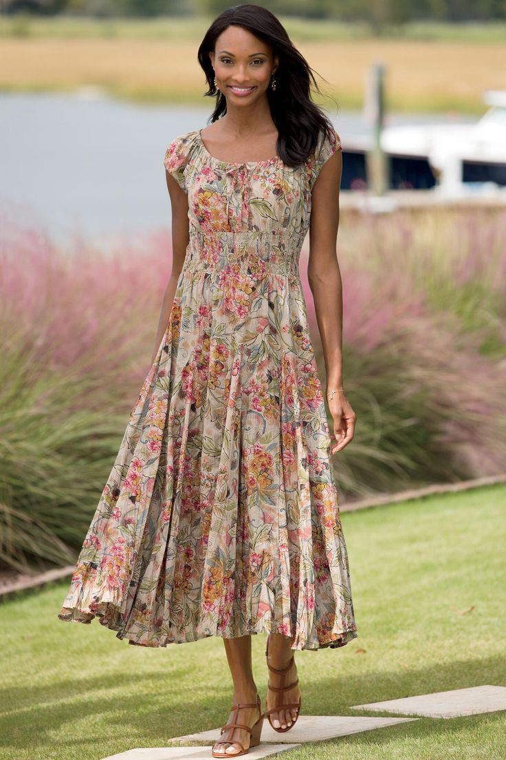Womens Dress 100 Cotton Floral Summer Dress Mid Knee: Cotton Peasant Dress: Classic Women's Clothing From
