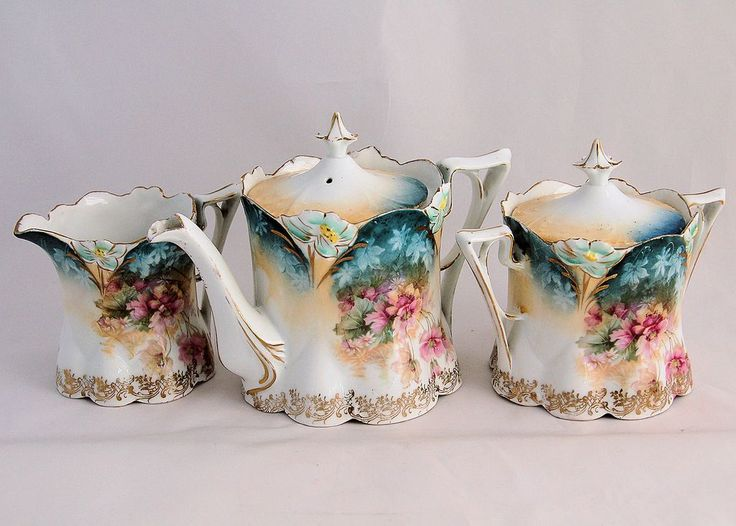 RS Prussia Tea Set 3 Pieces Teapot Covered Sugar Bowl and Pitcher Creamer from Antik Avenue on Ruby Lane
