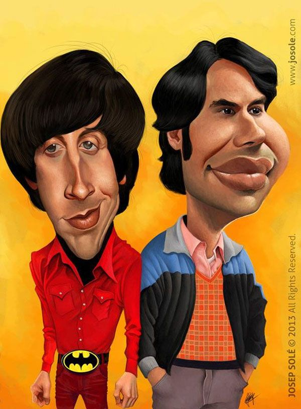 Caricatures of Howard Wolowitz and Rajesh Koothrappali Source:   https://www.facebook.com/josep.sole.52