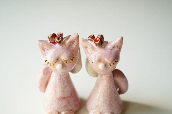 Same Sex Cake Topper Lesbian Cake Topper Ceramic Cat by HerMoments