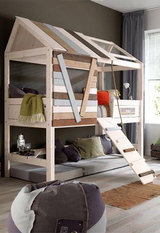 LIFETIME Boomhutbedden #vtwonen #interior #inspiration #boysroom #bedroom #treehouse #beanbag