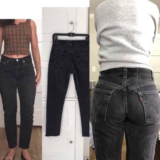 efca5e019646f3 Vintage Black Levis Jeans w Cropped Raw Hem | Womens 80s 90s High ...