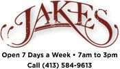 Jakes Restaurant - Northampton, MA - Jakes offers an expertly prepared menu with a Southern influence - no pretense or compromise. Open 7 Days a Week • 7am-3pm Call (413) 584-9613