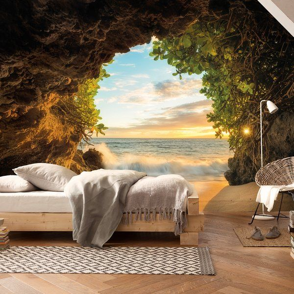 After wandering through the woods and caves you emerge onto a sunlit beach. A beautiful sunset greets you with warm waters lapping the shore. This tropical wall mural will add a little piece of paradise to any room.