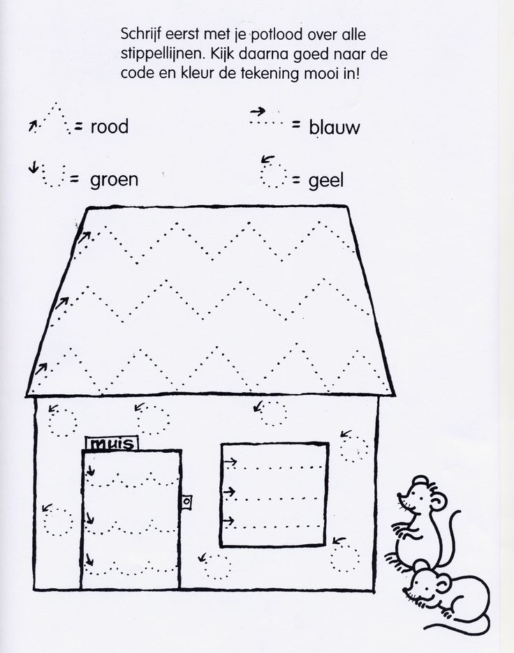 Kids at Work, Worksheet...Muis Fijne Motoriek Huis/ Mouse Fine Skills House....follow the Code with a pencil, done?..... Follow the Color matching the code with the same color and trace with feltpoint or pencil! If you done all this....yeahhh! , color in the page.