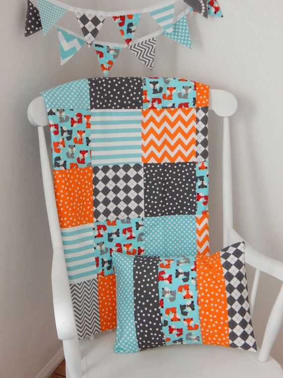 Baby Blanket, Gender Neutral Baby Blanket, Woodland Nursery, Stroller Blanket, Crib Blanket, Aqua Blue, Orange, Gray, Foxes, Woodland Animal