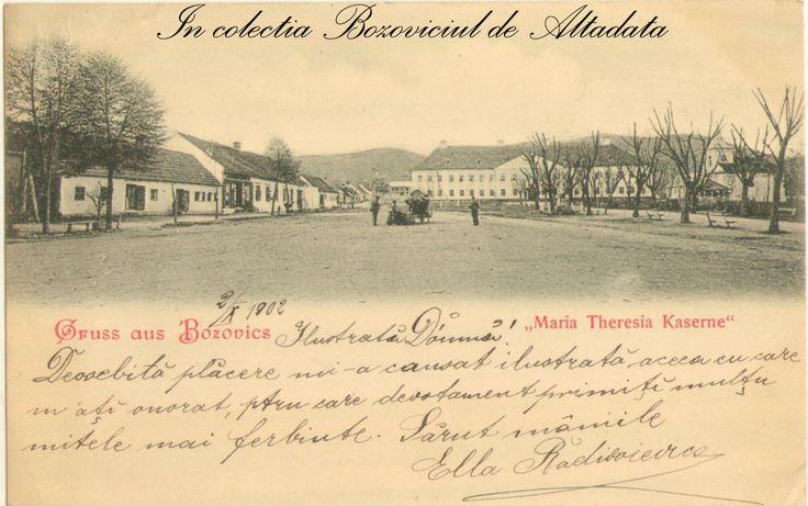 Aceeasi cazarma, dar dintr-un alt unghi. Ilustrata e clasica, nedivizata si a circulat in anul 1902 la Birchis (jud. Arad). #descoperabozovici (vintage postcards, old postcards, Bozovici)