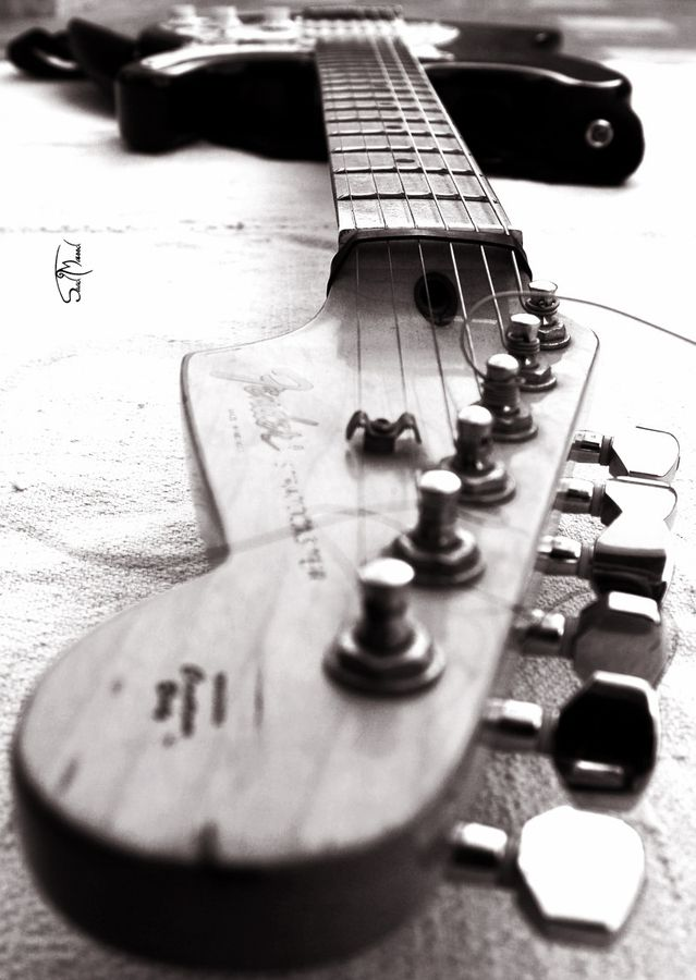 Fender Love | guitar | music | listen | rock star | black & white | photography