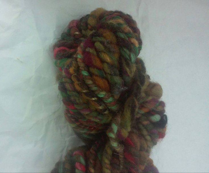 Dried Roses–Mini Skein–Hand Spun Art Yarn–merino exotic fibers two ply thick & thin multicolored variegated knit weave crochet