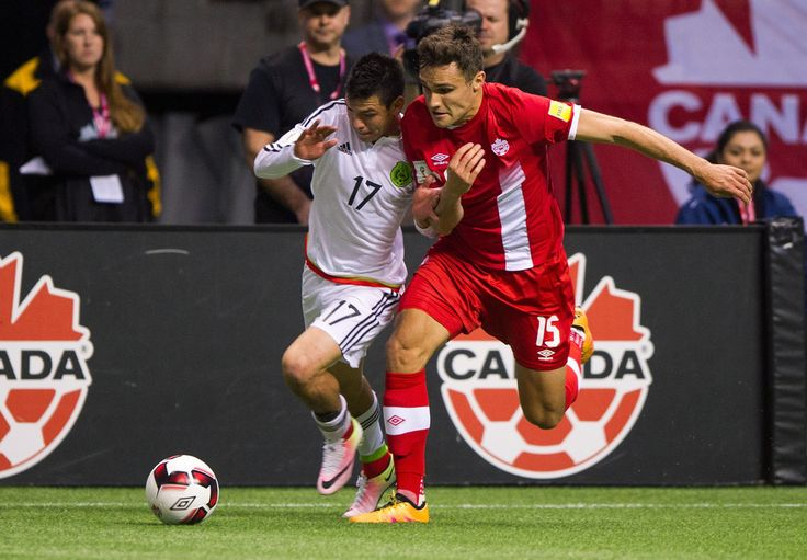 Hirving Lozano #17 of Mexico and Adam Straith #15 of Canada battle while giving chase to the loose ball during FIFA 2018 World Cup Qualifier soccer action at BC Place on March 25, 2016 in Vancouver, Canada. (March 24, 2016 - Source: Rich Lam/Getty Images North America)