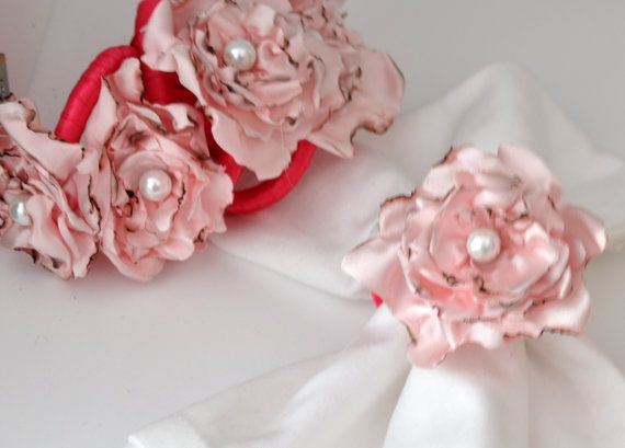 BIG SALE Pink Napkin Rings by Satin Fabric Flowersset by DOGAART, $30.00