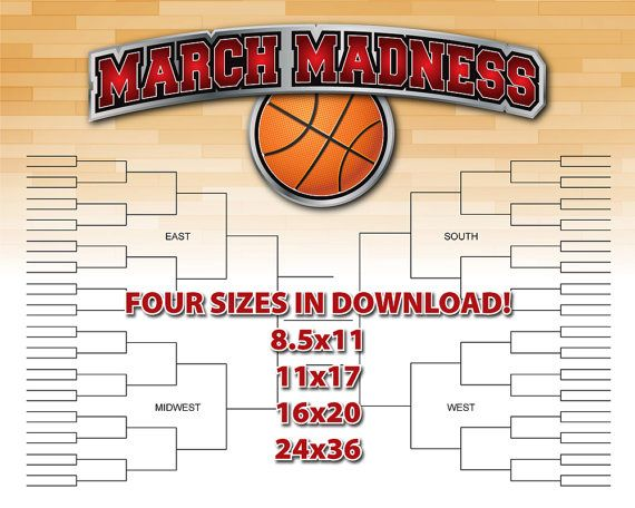 March Madness PRINTABLE Basketball Bracket Chart. Laminate this chart for years of use!