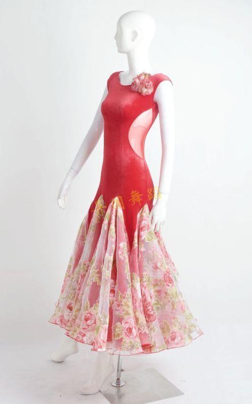 Платье для бальных танцев вальс современный стандарт конкуренции цветок бархатное платье W10