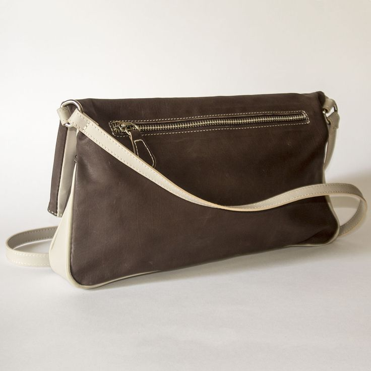 Duotone Brown and Grey Flap Shoulder Bag