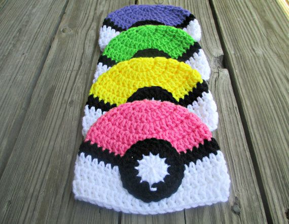 Pokeball Beanie Pokeball Hat Pokemon Baby Pokemon by stitchousity