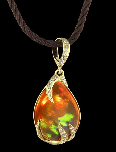 Caliente Fire Opal And Diamonds Set In Gold Pendant