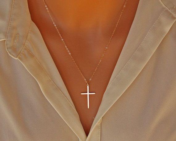 Elegante Kreuz Halskette - 14K gold filled, lange große dünn Kreuz Kette einfach, Mütter Tag Geschenkideen für ihre Mutter-Tochter-Schwester Frau