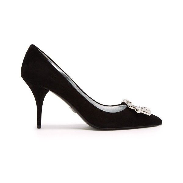 Prada Crystal-buckle suede pumps (€805) ❤ liked on Polyvore featuring shoes, pumps, black, pointy-toe pumps, black pointed toe pumps, black suede pumps, black pumps and black pointy-toe pumps