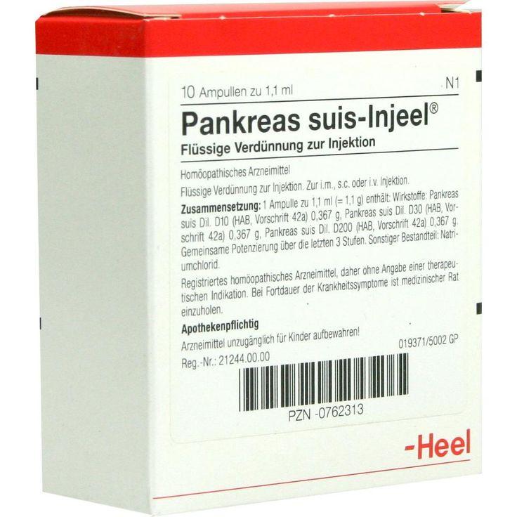 PANKREAS SUIS Injeel Ampullen:   Packungsinhalt: 10 St Ampullen PZN: 00762313 Hersteller: Biologische Heilmittel Heel GmbH Preis: 18,86…