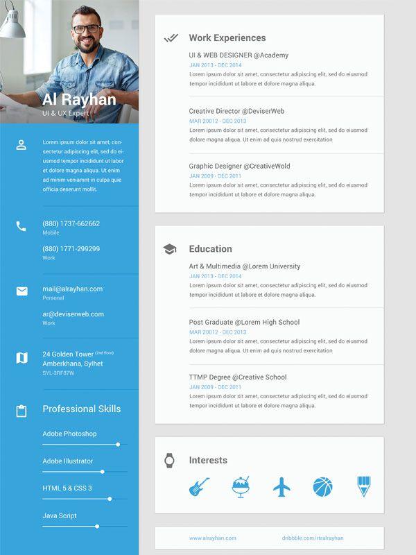 69 best CV images on Pinterest Resume templates, Cv template and - resume cv templates
