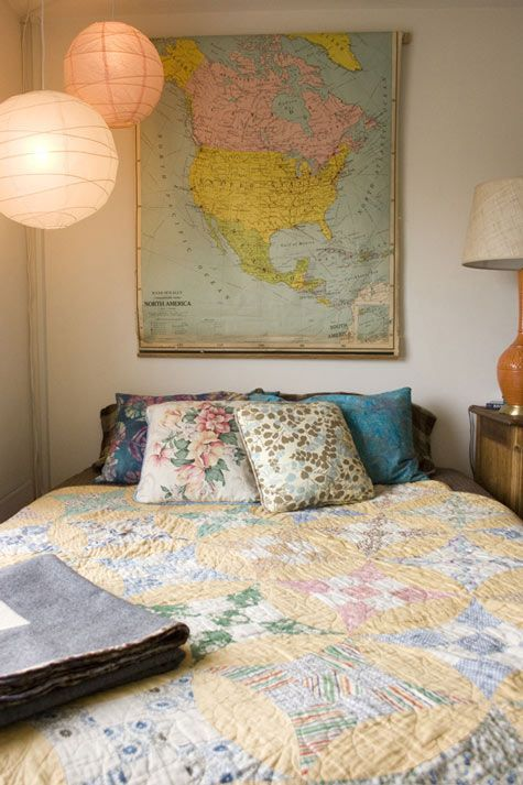 Maps and quilts bedroom