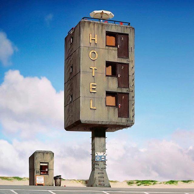 "German photographer Frank Kunert's ""Climbing Holidays""  part of his ""Small Worlds"" series of surreal miniature models he meticulously builds.  .  .  .  .  .  #art #frankkunert #artist #miniature #photography #kellybehun #kellybehunstudio  via @waxandbrutalism"
