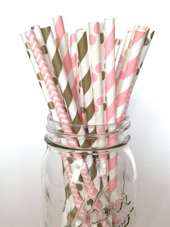 Pink Straws Baby Shower Straws Girl Birthday by Twigsandtwirlsllc