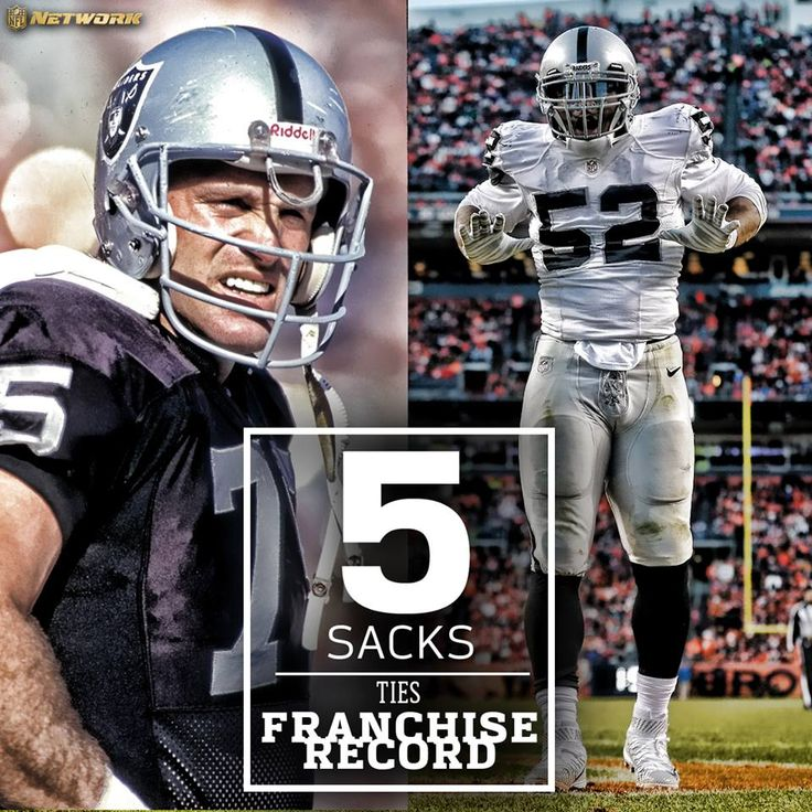 The Oakland Raiders Khalil Mack: one-man wrecking crew.  The only other Raider with 5 sacks in a game? Howie Long.