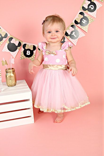 ************** PINK and GOLD BIRTHDAY DRESS ***************** This pink and gold birthday dress is too much fun!!!! This pink and gold birthday dress has so many wonderful details. Make your party special in soft pink dots and gold satin trimming. A very pretty elegant take on a