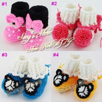 Детское вязание крючком микки маус обувь для уокер малыша пинетки ручной работы цветок новорожденных девочек обувь 5 пар бесплатная доставка