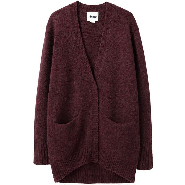 Acne Cynthia Long Cardigan (£180) ❤ liked on Polyvore featuring tops, cardigans, outerwear, sweaters, over sized cardigan, long wool cardigan, long oversized cardigan, long cardigan and brown tops