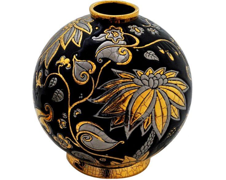 "Boule pm h.18 Collection ""Rêve de jungle"" J.Boggio pour Emaux de Longwy, Available in Black/gold. White/gold. Turquoise/gold"