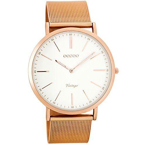 Oozoo Vintage Armbanduhr Weiß/Rosé C7390 - http://uhr.haus/oozoo/oozoo-vintage-ultra-slim-metallband-40-mm-rose
