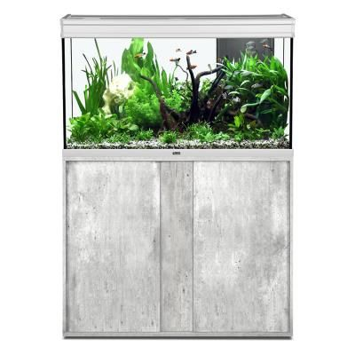 Animalerie  Ensemble Aquarium Elegance Expert 100X40 cm Led Inox  Meuble Beton Cire