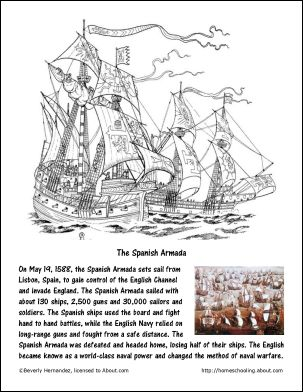 may worksheets and coloring pages spanish armada. Black Bedroom Furniture Sets. Home Design Ideas