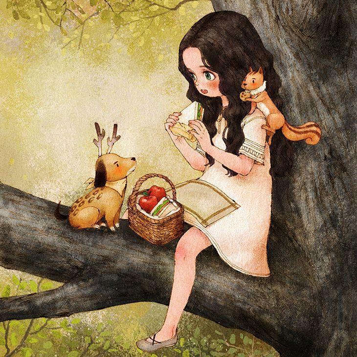 나무위에서 먹는 점심은 다른 때보다도 무척 맛이 있어요. There is nothing better than lunch on a tree.  #illust #illustration #lunch #lunchtime #sandwich #rudolphdog #squirrel #tree #girl #drawing #paint #sketch #aeppol #애뽈 #일러스트레이션 #일러스트 #점심식사 #샌드위치 #소녀