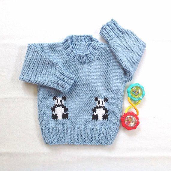 Panda sweater  12 to 24 months  Knit baby jumper  by LurayKnitwear
